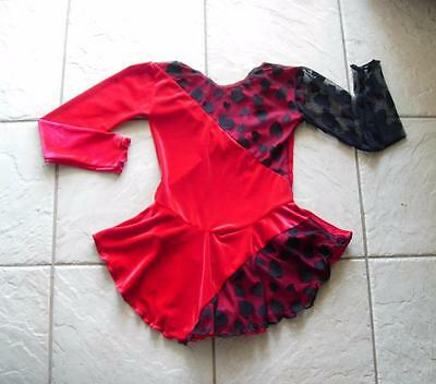 NEW Girls RED Velvet BLACK QUEEN of HEARTS COMPETITION Figure ICE SKATING Dress