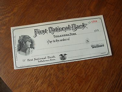 Tullahoma TN Tennessee First National Bank Counter Check Large Victorian Unused