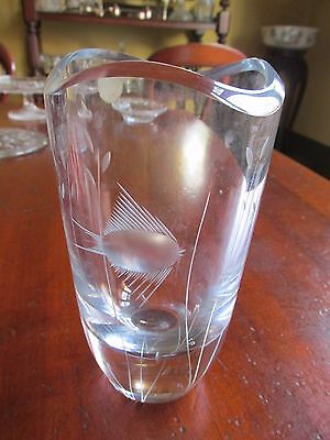 Rare Whitefriars Clear Glass Vase Etched with Fish Original Paper Label
