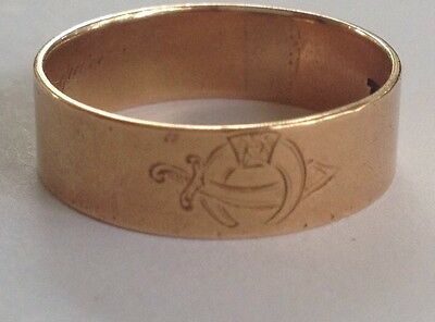 Antique 1912 Masonic Mason Scottish Rite Shriner 14k Gold Ring Band size 9.5