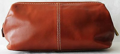 Fossil Brown Leather Framed Shave Kit Toiletry Bag Excellent Father's Day