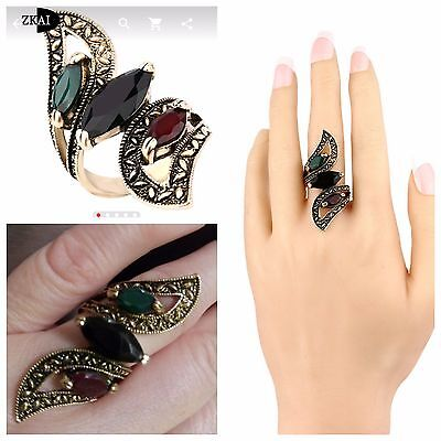 High quality Fashion 2016 Vintage Big Ring Antique Gold Plated Mosaic Colorful