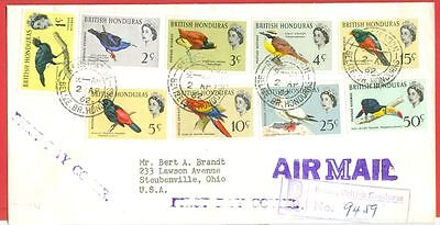 British Honduras Topic Bird 9 diff stamp used on Registered FD Cover to USA 1962
