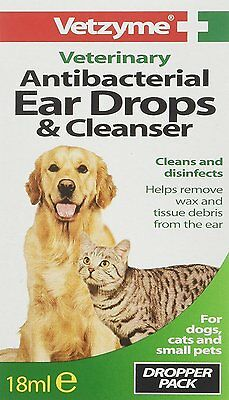 Vetzyme Pet Antibacterial Ear Drops and Cleanser 18ml For Dogs Cats