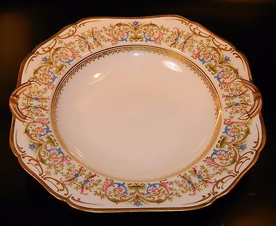 4 Charles Ahrenfeldt AHR995 Limoges SOUP BOWLS Gold, Scroll, Blue Flower, 1895