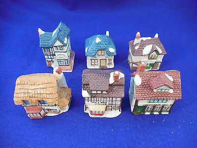 """Set of 6 smaller ceramic houses for under tree or scenes 2"""" to 2 1/2"""" by about 3"""