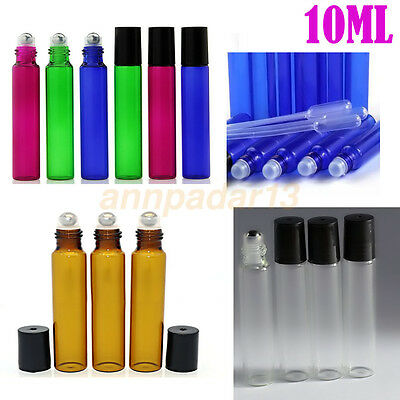 1pcs~100PCS 10ml Empty Glass Roll on Bottles Black Perfume Essential Oil Roller