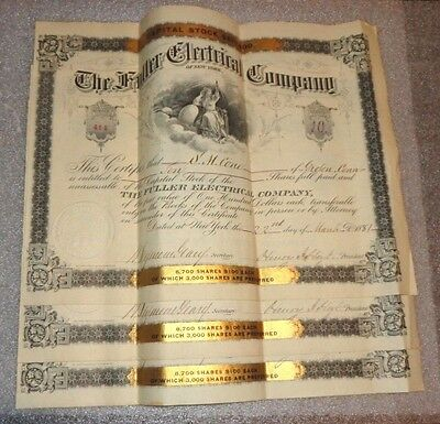 lot 3 sequential stock certificate The Fuller Electrical Co. 1881