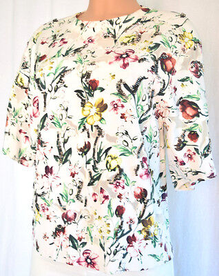 3.1 Phillip Lim Silk Floral Multi-Color Beaded Short Sleeves Blouse Size 8