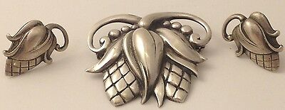 ART DECO VIKINGCRAFT STERLING SILVER SET OF CLIP-ONS & BROOCH CORNLEAF 031017aD@
