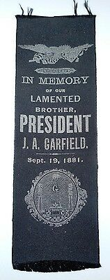 President James Garfield Memorial / Mourning / Memory Ribbon 1881 Silk  #1