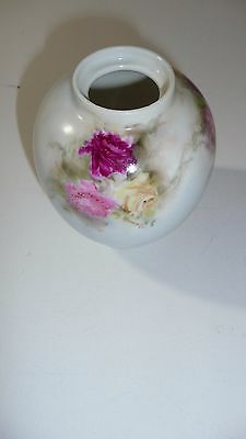 Vintage Antique Limoges Porcelain Vase France Hand Painted Floral Roses Mark PL