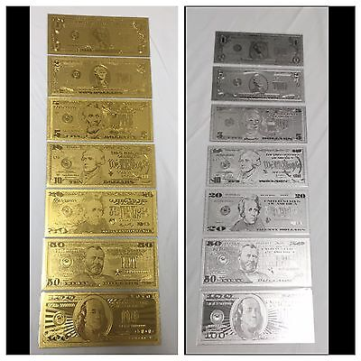 Gold & Silver 14 Piece Set Banknotes $1, $2, $5, $10, $20, $50, $100 + Sleeves