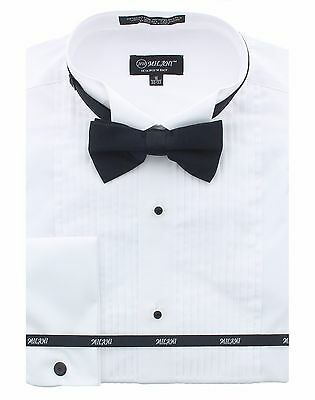 Milani Mens Tuxedo Shirt With Bowtie in Standard & French Cuffs