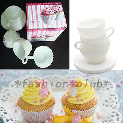 4 Sets of Silicone Cupcake Cups Muffin Baking Cake Tea Saucers Teacup Mold New