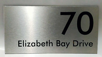 Brushed Aluminum House Address Signs 300mm x 150mm