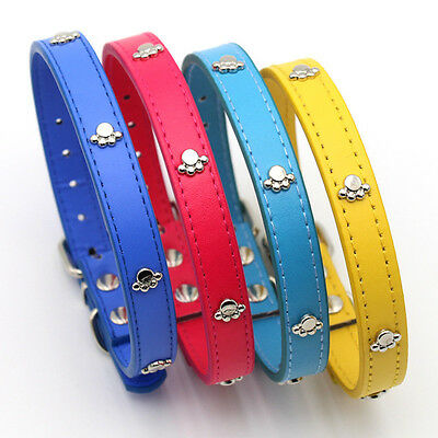 Cute Adjustable Paw Prints Pattern Pet Dog Leather Collars Personalized Collar