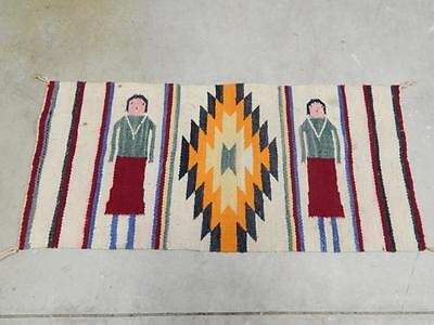 Antique Vintage Navajo Indian Yei Rug / Weaving - Runner Length - Not A Gallup
