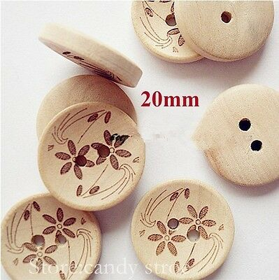 Pack of 5 Wooden Buttons, Flower Pattern, Round 20mm - Sewing /Scrapbooking /DIY
