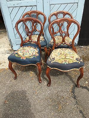 4 Balloon Back Dining Chairs With Needle Point Seats