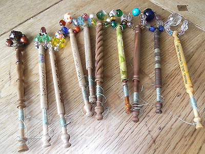 Vintage/Collectable Wooden Lacemaking Bobbins X 10 (12)