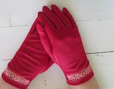 Gorgeous Dents red vintage dress gloves with pink lace insert