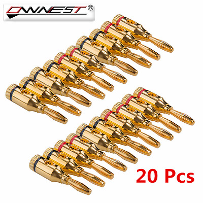 20X 4mm Gold Plated Audio Musical Speaker Screw Cable Wire Banana Plug Connector