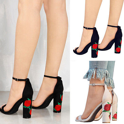 New Women Suede Embroidered Ankle Strap Block Heels Shoes Sandals