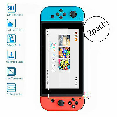 2 Pack 9H Premium Clear Tempered Glass Film Screen Protector For Nintendo Switch
