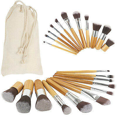 Bamboo Beauty Cosmetics 11pc Makeup Brush Set canvas travel pouch - By TRIXES