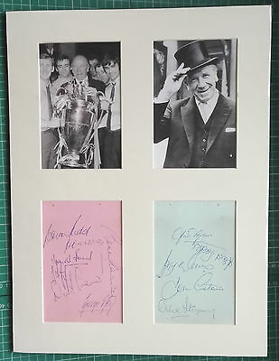 MANCHESTER UNITED SIGNED MOUNTED ALBUM PAGES/ PHOTOS 1968 inc BEST,LAW, CHARLTON