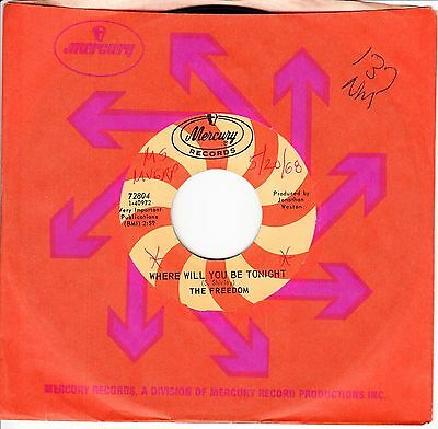 The Freedom *where Will You Be Tonight* 1968 Us  Psych / Garage Rock   N Mint