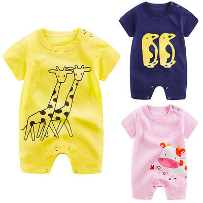Summer Newborn Infant Baby Boy Girl Romper Jumpsuit Playsuit Bodysuit Outfits UK