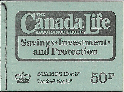 1973 Gb Qeii 50P Stitched Stamp Booklet Sg Dt 11 Canada Life Assurance May