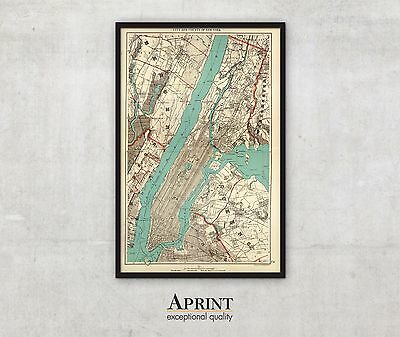 """Huge New York map, vintage map of city and country of New York, 56"""" x 86"""""""