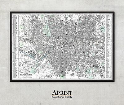 """Extra Large Manchester map print , Archival quality art print , 56"""" x 85"""""""