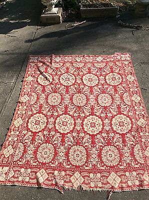"Antique Jacquard Woven Coverlet White Red Birds Flowers  Wool 94"" X 75"""