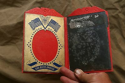"Vintage Service Flag World War II Picture Frame/ Mirror ""God Bless America"""