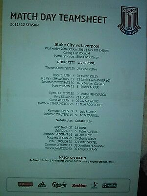 Stoke City v Liverpool CARLING CUP 4 26/10 2011 OFFICIAL TEAM SHEET