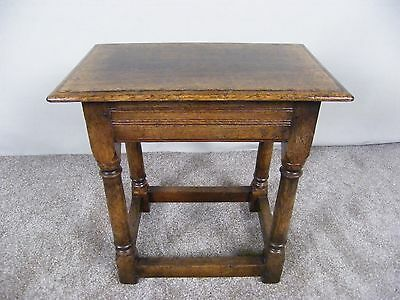 Titchmarsh And Goodwin Solid Oak Stool Mint Condition Ideal As Seat Or Table