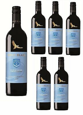 PRICED TO CLEAR! Wolf Blass State Of Origin Shiraz BLUES 2016 (6x750ml) RRP$119