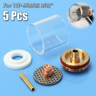 5Pcs TIG Welding Torch Glass Cup Nozzle Gas Lens Kit For WP-9/20/25 3/32'' 2.4mm