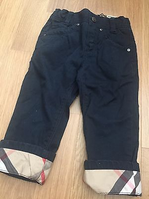 Boys Burberry Navy Chino With Nova Turn Up Age 2 New Without Tags