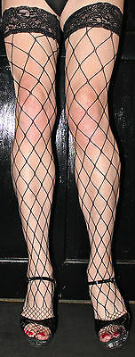 2 Pairs Large Black Fence Net/Whale Net Fishnet Toe Lace top Hold up
