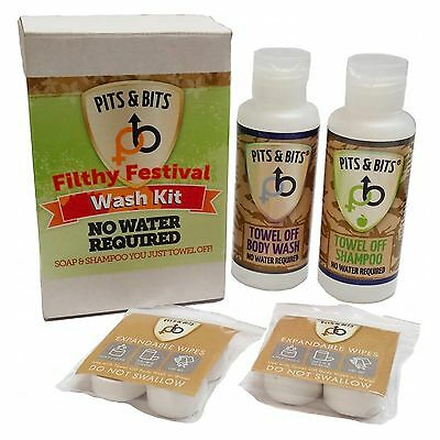 Pits and Bits Filthy Festival Wash Kit, No Rinse hygiene for camping & festivals