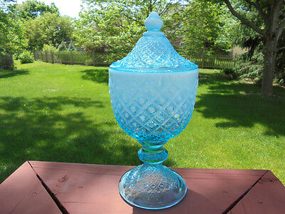 Vintage Fenton Glass Blue Opalescent Diamond Lace Cov Candy Jar 10""