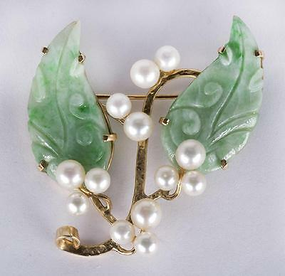 MING'S of Honolulu Carved JADE and PEARLS 14k Yellow Gold Brooch Pin Vintage