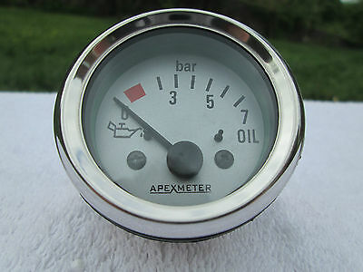 52mm Electric Oil Pressure Gauge:Range 0- 7 Bar Chrome Bezel 12 volt Silver