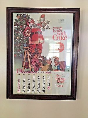 Vintage December 1965 COCA COLA COKE CALENDAR Page Framed Santa ~ Kids Toys Tree