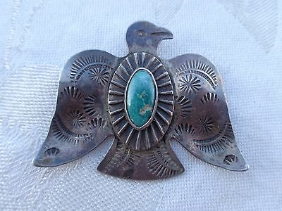 Vintage Old Pawn Navajo Thunderbird Turquoise Stamped Silver Pin